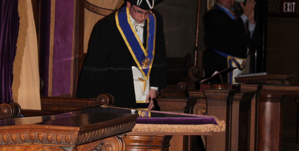 The new Worshipful Master is seated in the Oriental Chair