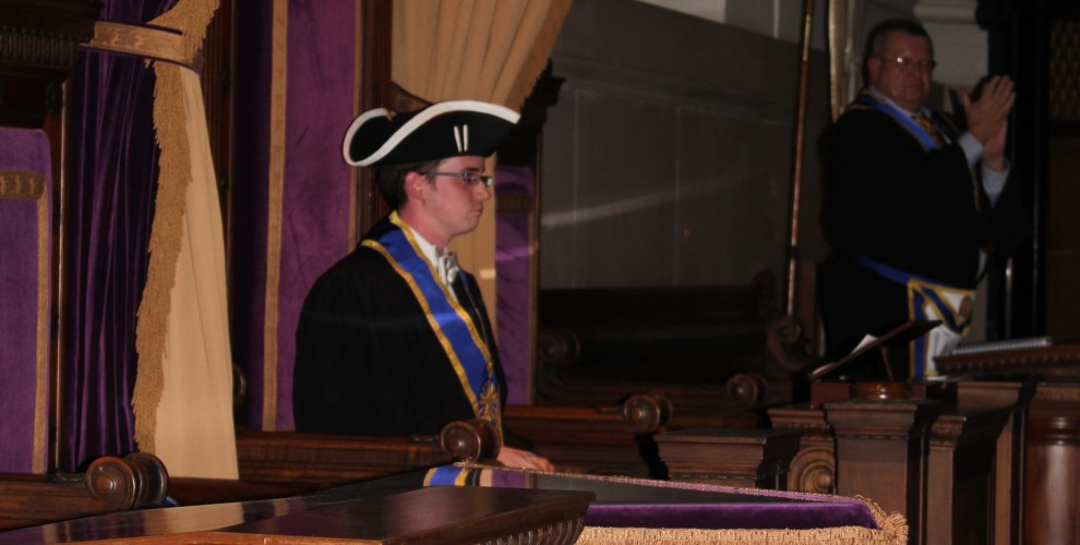 The new Worshipful Master seated in the Oriental Chair
